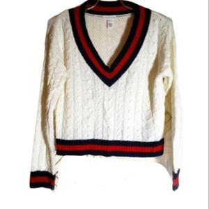 Full Tilt Varsity Cable Knit Sweater